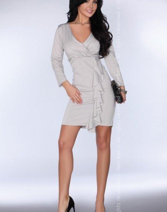 Елегантна миди рокля в сив цвят Bilyana, Merribel, Миди рокли - Modavel.com