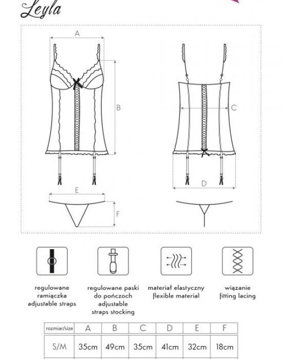 Секси корсет с прашки в светлосин цвят Leyla, LivCo Corsetti Fashion, Корсети - Modavel.com