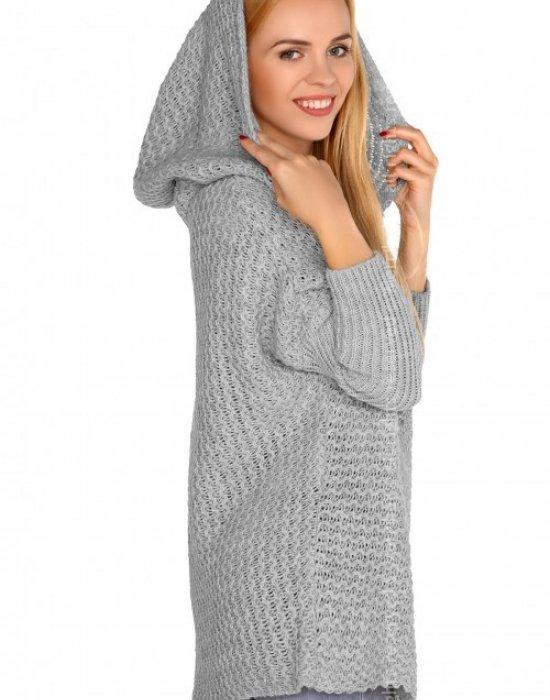 Дамска жилетка с качулка в сиво Dalena, Merribel, Връхни - Modavel.com