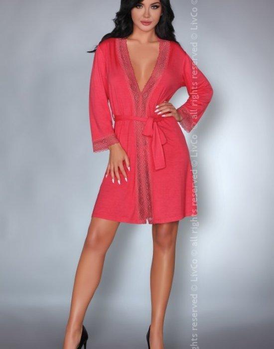 Секси халат в коралов цвят Frances, LivCo Corsetti Fashion, Секси Халати - Modavel.com