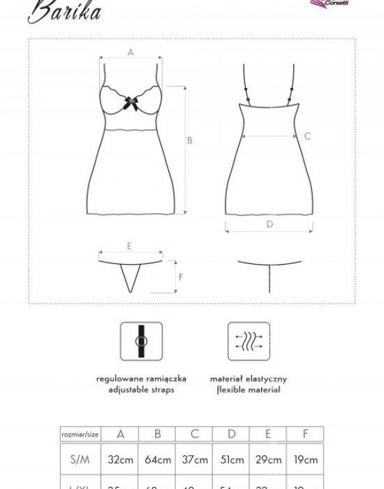 Секси нощница с прашки в черно Barika, LivCo Corsetti Fashion, Комплекти - Modavel.com