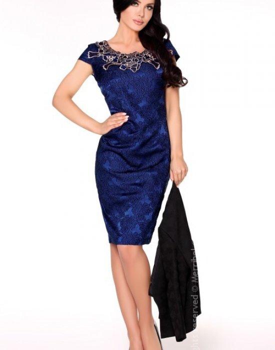 Елагантна миди рокля в синьо Dani, Merribel, Миди рокли - Modavel.com