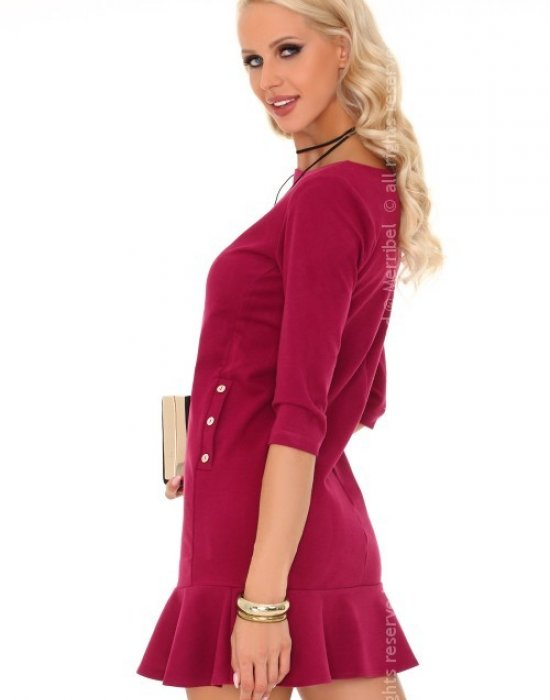 Ежедневна къса рокля в цвят бордо Marima, Merribel, Къси рокли - Modavel.com