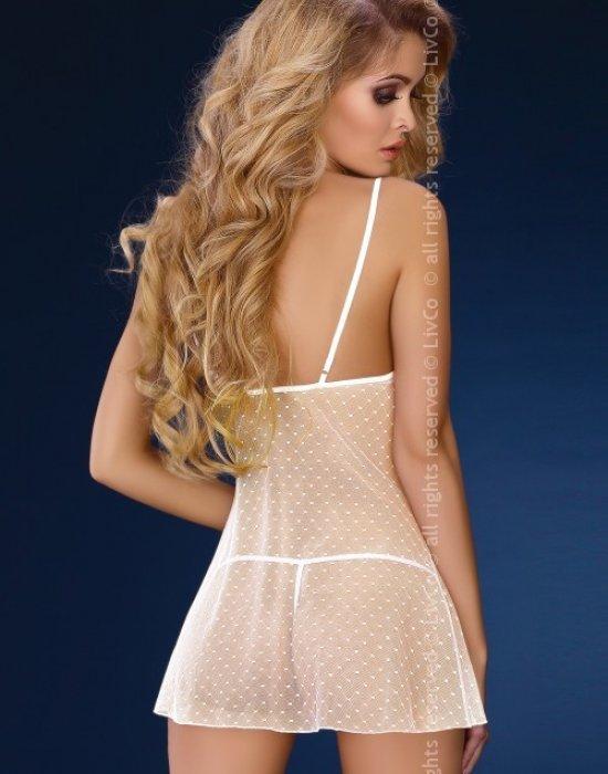 Секси нощница с прашки в бяло Daphne, LivCo Corsetti Fashion, Комплекти - Modavel.com