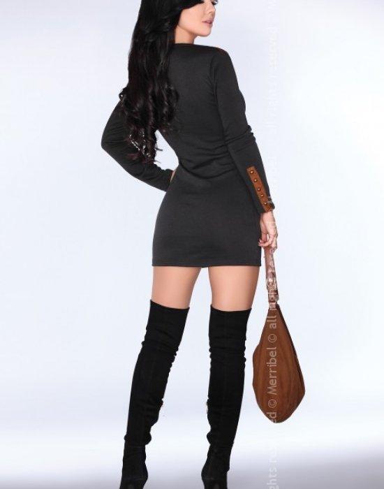 Ежедневна мини рокля в черно CG002, Merribel, Къси рокли - Modavel.com