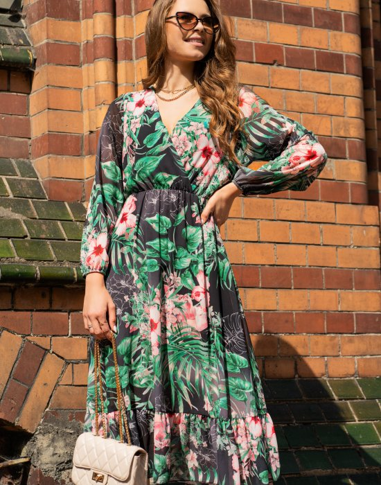 Миди рокля в тропически десен Mirian, Merribel, Миди рокли - Modavel.com