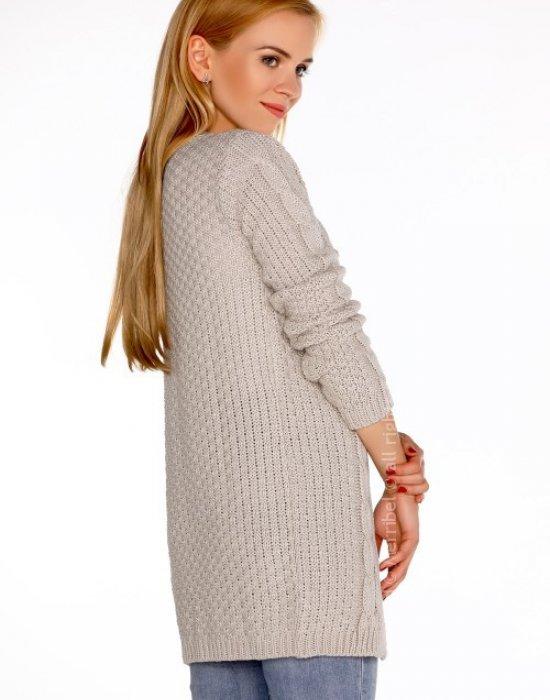 Дълга дамска жилетка в бежов цвят Anionees, Merribel, Връхни - Modavel.com