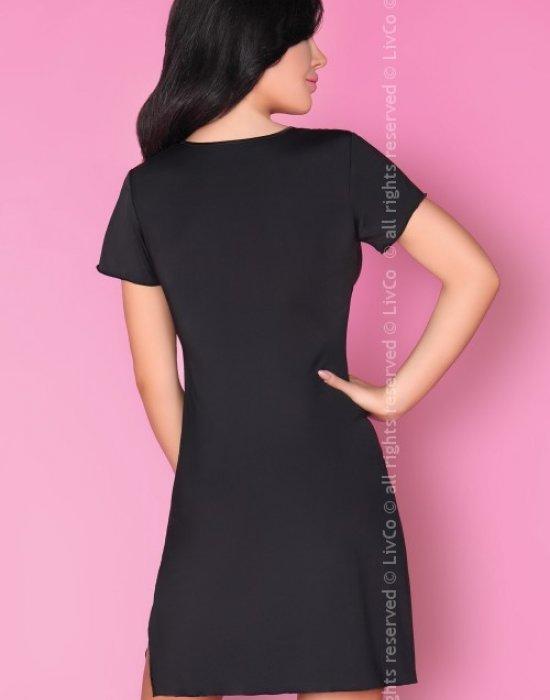 Еротична сатенена нощница в черен цвят Medea, LivCo Corsetti Fashion, Нощници - Modavel.com