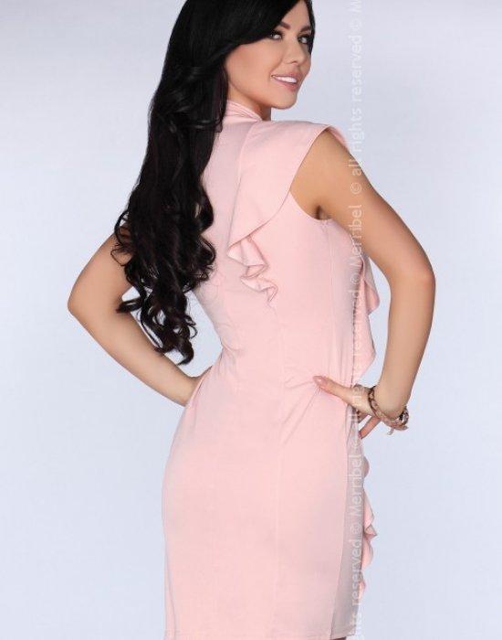 Елегантна къса рокля в розов цвят Kandajam, Merribel, Къси рокли - Modavel.com