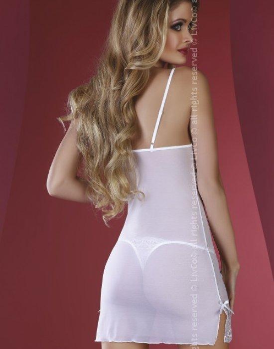 Прозрачна нощница с прашки в бял цвят Florizel, LivCo Corsetti Fashion, Комплекти - Modavel.com