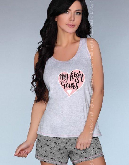 Лятна памучна пижама в сиво Maram, LivCo Corsetti Fashion, Пижами - Modavel.com