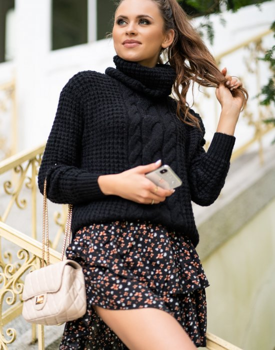 Дамски пуловер в черен цвят Sevenel
