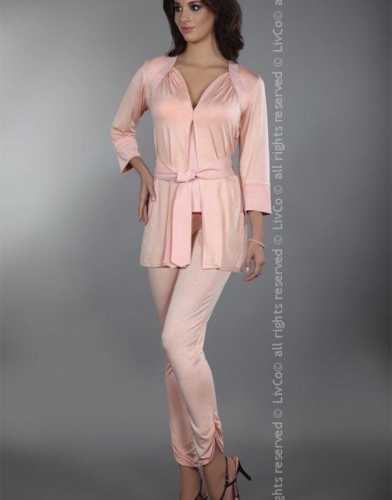 Елегантел халат в цвят сьомга Rizen, LivCo Corsetti Fashion, Секси Халати - Modavel.com