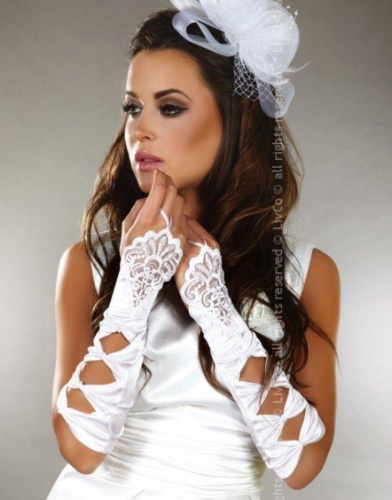 Булчински ръкавици от дантела и сатен, LivCo Corsetti Fashion, Еротични - Modavel.com
