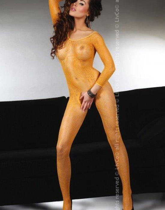 Целокупно боди в оранжев цвят Abra, LivCo Corsetti Fashion, Целокупни бодита - Modavel.com