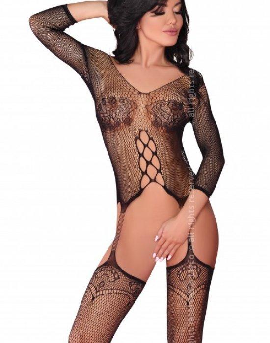 Целокупно мрежесто боди в черен цвят Dalitso, LivCo Corsetti Fashion, Целокупни бодита - Modavel.com