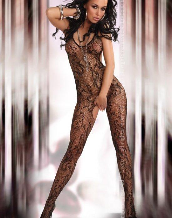 Целокупно мрежесто боди в черен цвят Eden, LivCo Corsetti Fashion, Целокупни бодита - Modavel.com