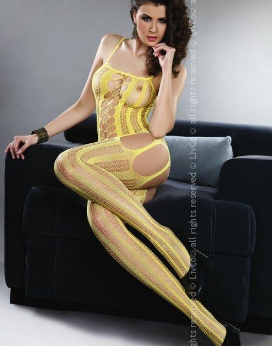 Целокупно мрежесто боди в жълт цвят Almas, LivCo Corsetti Fashion, Целокупни бодита - Modavel.com