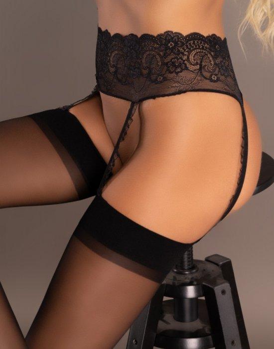 Черен жартиерен колан с чорапи Miraneit, LivCo Corsetti Fashion, Жартиер колани - Modavel.com