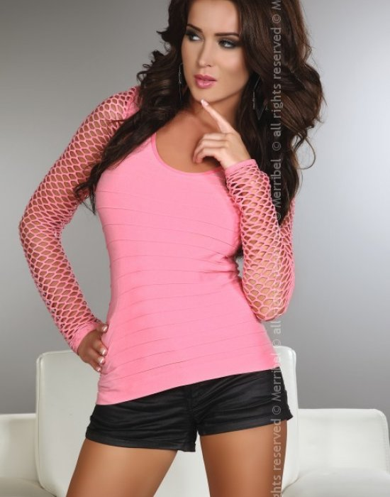 Дамска блуза с ръкав от мрежа Hortense, Merribel, Блузи / Топове - Modavel.com