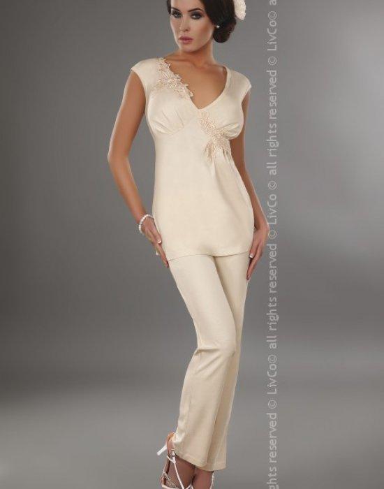 Дамска пижама в цвят екрю Timea, LivCo Corsetti Fashion, Пижами - Modavel.com