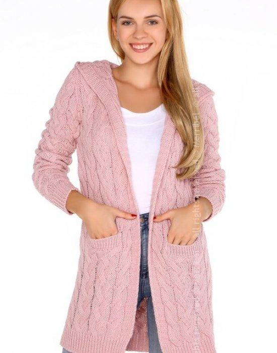 Дамска жилетка с качулка в розово Jolannda, Merribel, Връхни - Modavel.com