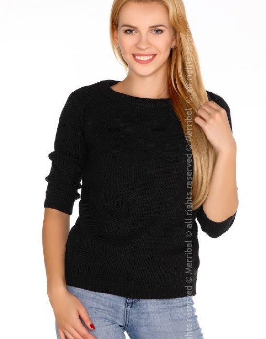 Дамски черен пуловер с 3/4 ръкав Elpidana, Merribel, Блузи / Топове - Modavel.com