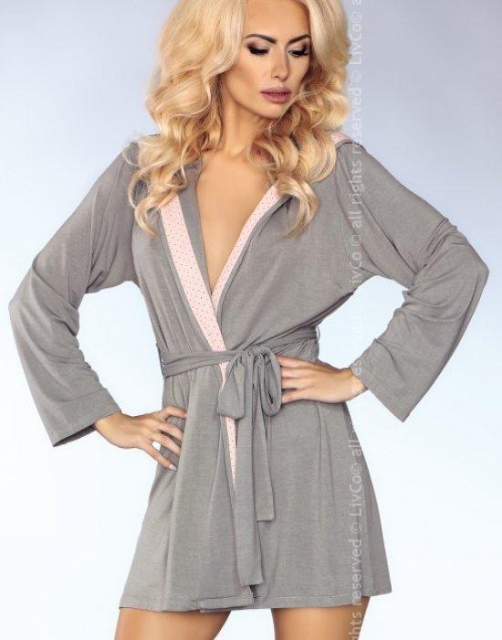 Дамски халат в сив цвят MODEL 100, LivCo Corsetti Fashion, Халати - Modavel.com