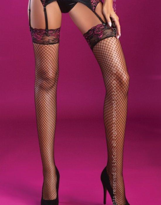 Дамски мрежести дълги чорапи в черно Holly, LivCo Corsetti Fashion, Чорапи - Modavel.com