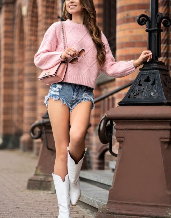 Дамски пуловер в розов цвят Xmasin