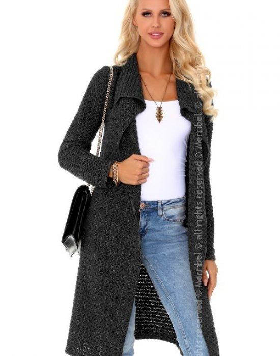 Дълга дамска жилетка в сив цвят Mayamino, Merribel, Връхни - Modavel.com