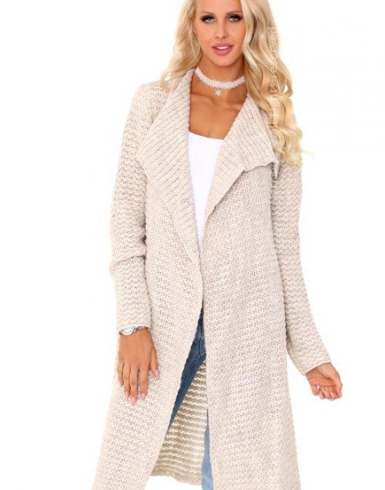 Дълга дамска жилетка в телесен цвят Mayamino, Merribel, Връхни - Modavel.com