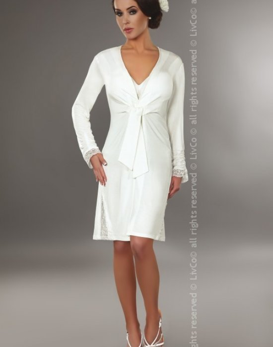 Елегантен халат в цвят на слонова кост Lavinia, LivCo Corsetti Fashion, Секси Халати - Modavel.com