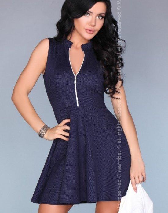 Елегантна къса рокля в син цвят, Merribel, Къси рокли - Modavel.com