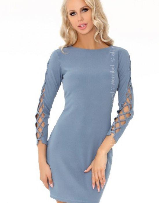 Елегантна къса рокля в синьо Merciana,  Къси рокли - Modavel.com