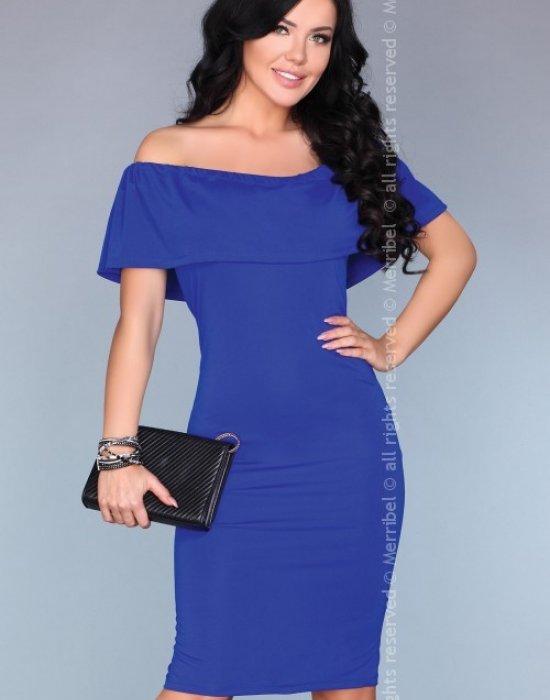 Елегантна миди рокля в син цвят, Merribel, Миди рокли - Modavel.com