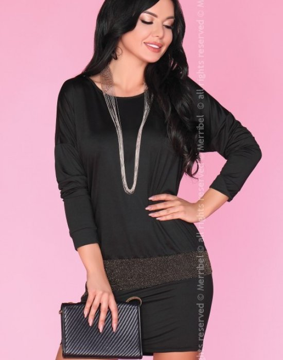 Елегантна мини рокля в черен цвят, Merribel, Къси рокли - Modavel.com