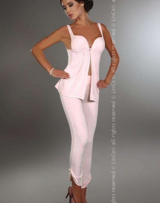 Елегантна пижама в цвят пудра Leah, LivCo Corsetti Fashion, Пижами - Modavel.com