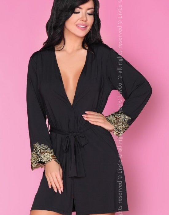 Еротичен халат в черен цвят Marita, LivCo Corsetti Fashion, Секси Халати - Modavel.com