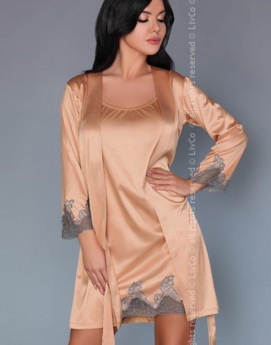 Еротичен сатенен комплект от три части Sancha, LivCo Corsetti Fashion, Секси Халати - Modavel.com