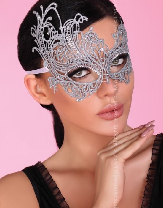 Еротична дантелена маска в сребристо, LivCo Corsetti Fashion, Еротични - Modavel.com