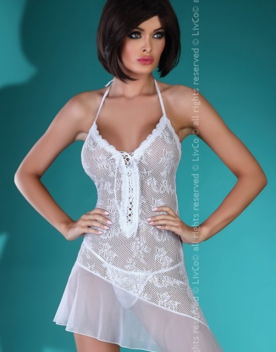 Еротична нощница с прашки в бяло Mahalia, LivCo Corsetti Fashion, Комплекти - Modavel.com