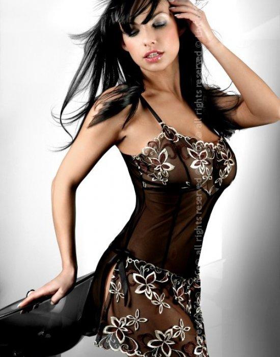 Еротична нощница с прашки в черно Hera, LivCo Corsetti Fashion, Комплекти - Modavel.com