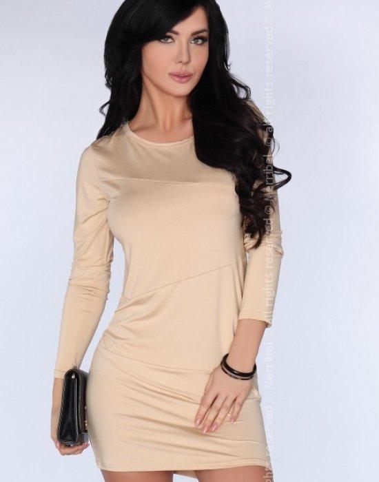 Ежедневна бежова къса рокля CG005, Merribel, Къси рокли - Modavel.com