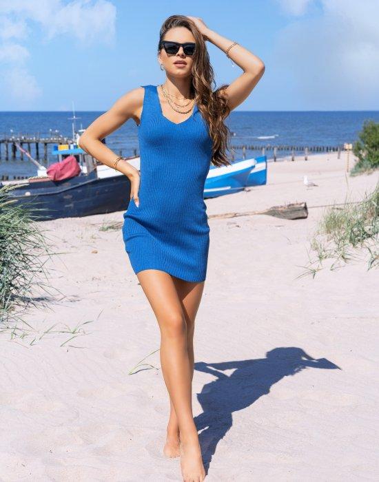 Къса рокля в син цвят Rosimna
