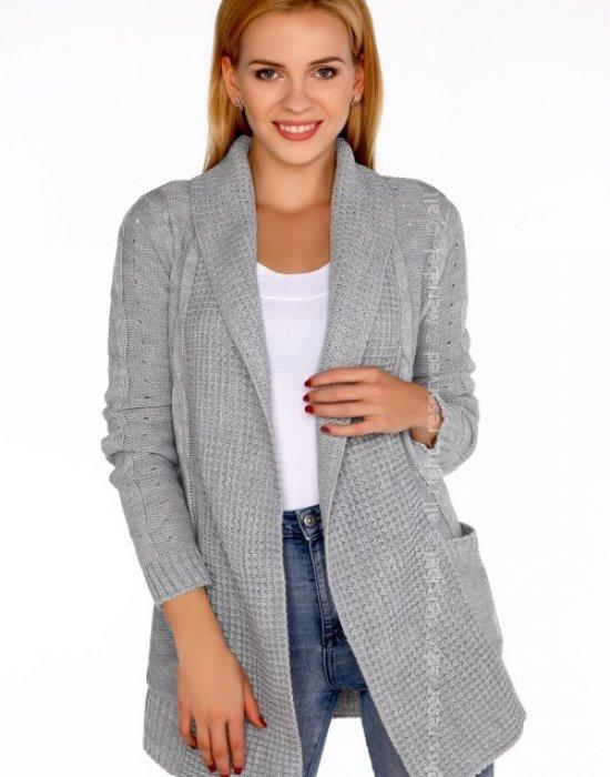 Отворена дамска жилетка в сиво Jimie, Merribel, Връхни - Modavel.com
