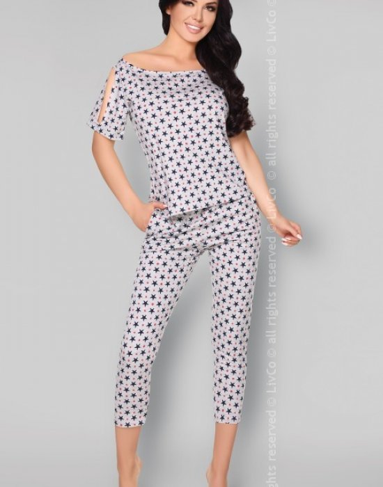 Памучна пижама на звездички Anahila, LivCo Corsetti Fashion, Пижами - Modavel.com