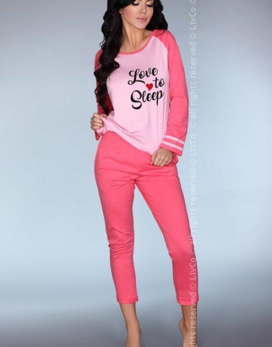 Памучна пижама в розов цвят Malblea, LivCo Corsetti Fashion, Пижами - Modavel.com