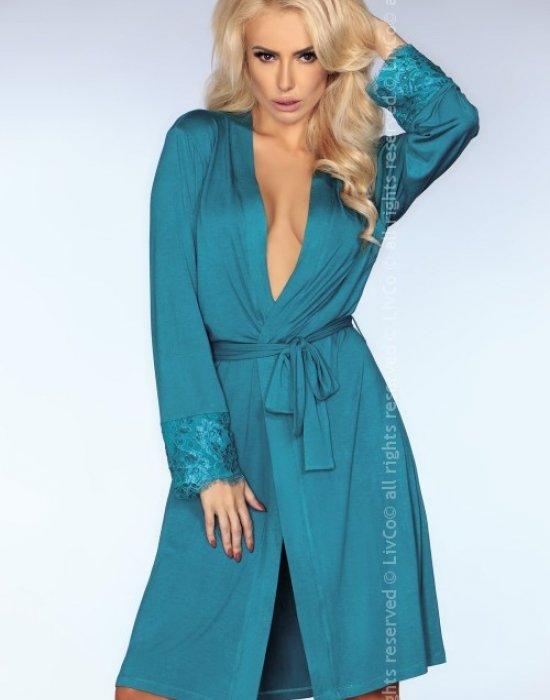 Секси халат в тюркоазен цвят Brenda, LivCo Corsetti Fashion, Секси Халати - Modavel.com