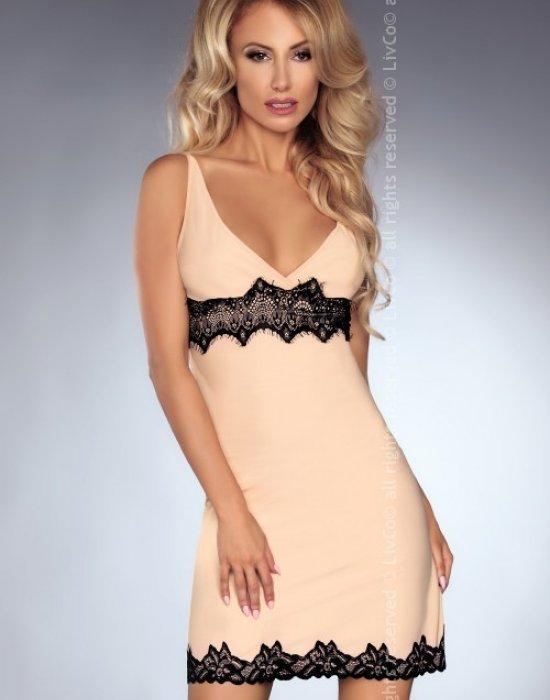 Секси копринена нощница с прашки Kathleen, LivCo Corsetti Fashion, Комплекти - Modavel.com
